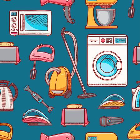 Seamless background of different home appliances. Vector illustration