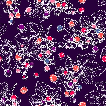 Seamless background of ripe currant. Hand drawn illustration Иллюстрация