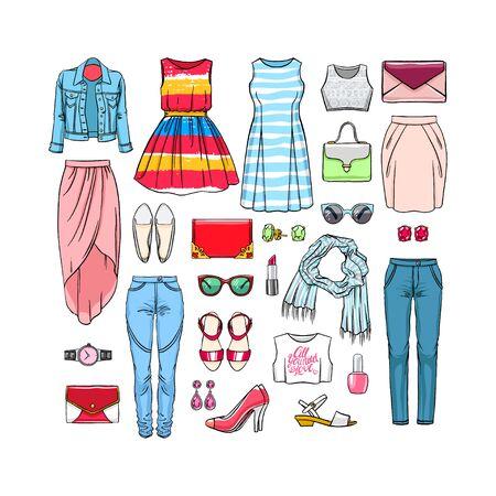 Fashion set of female clothes. hand drawn illustration