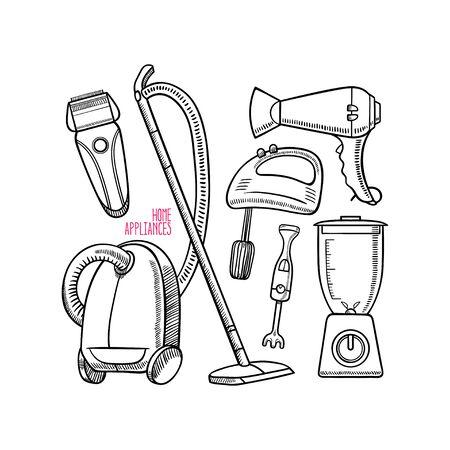 Set of different home appliances. Vector illustration