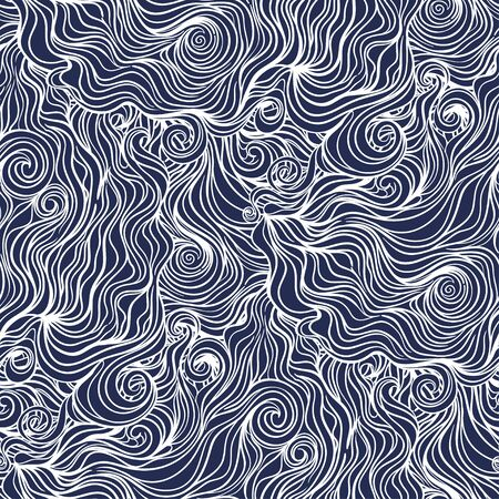 Seamless curl wave background. Vector Illustration