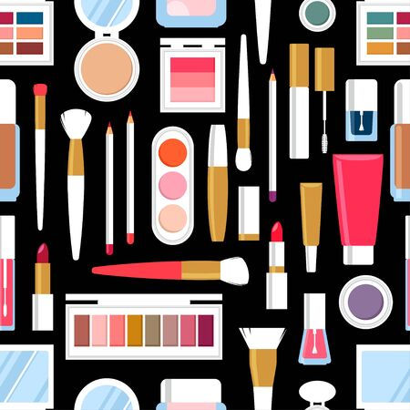Seamless background of diiferent cosmetic products. Nail polish, mascara, lipstick, eye shadows, brush, powder, lip gloss. Vector illustration
