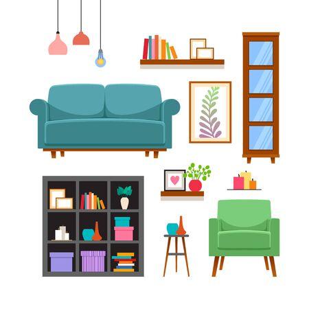 Möbel- und Wohnaccessoires-Set. Vektor-Illustration
