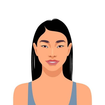 Beautiful asian smiling girl portrait. Vector illustration