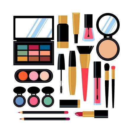 set of diiferent cosmetic products. Nail polish, mascara, lipstick, eye shadows, brush, powder, lip gloss. Vector illustration 向量圖像