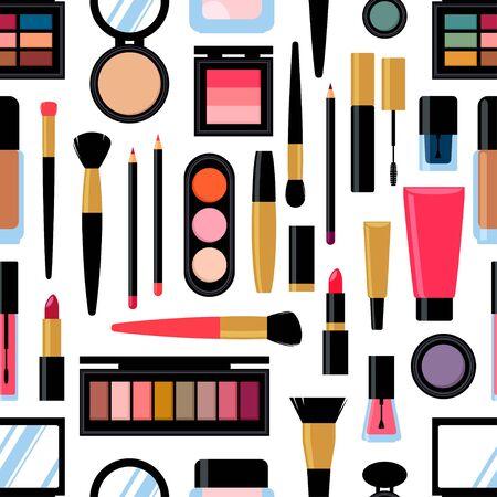 Seamless background of diiferent cosmetic products. Nail polish, mascara, lipstick, eye shadows, brush, powder, lip gloss. Vector illustration