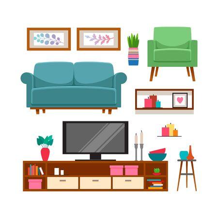 Möbel- und Wohnaccessoires-Set. Vektor-Illustration Vektorgrafik