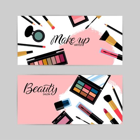 business card with different cosmetics products. Vector illustration