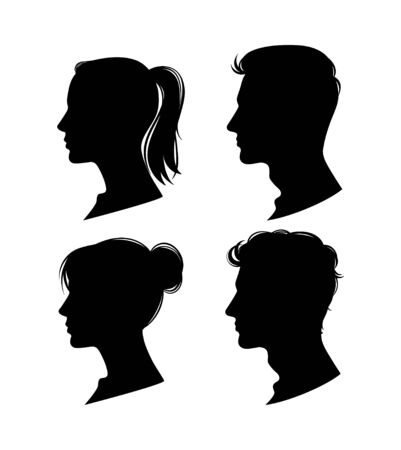 Woman and man profiles. Vector illustration