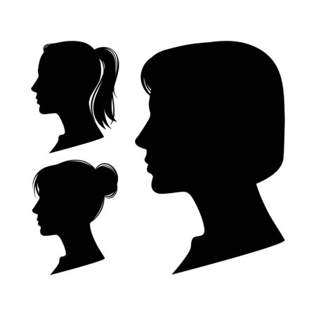 Set of Women profiles isolated on white background. Vector illustration