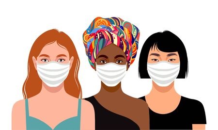 Three young women with different skin colors wearing protective masks. Vector iilustration Ilustração Vetorial