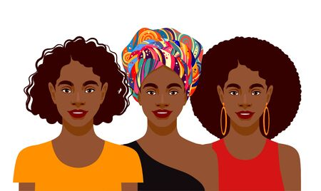 Young attractive African American women with different hairstyles. Vector illustration