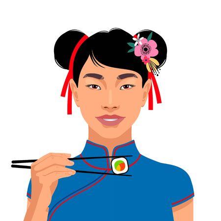 Portrait of beautiful asian woman. Holding sushi with chopsticks. Vector illustration Illustration