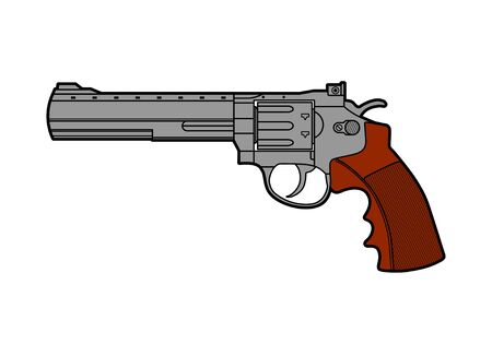 Icon of retro gun. Line stile vector illustration.