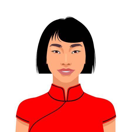 Portrait of beautiful asian woman. Vector illustration Illustration