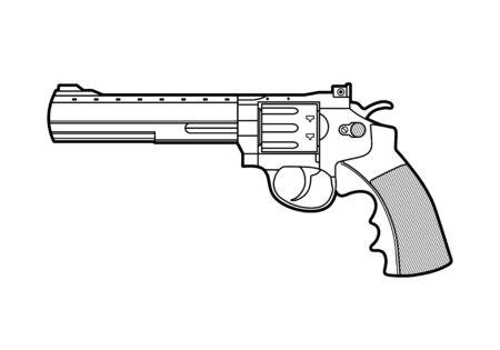 Icône de pistolet rétro. Illustration vectorielle de ligne stile.