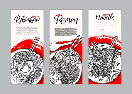 Set of three banners with different asian food. Bibimbap, ramen and noodles. Hand-drawn illustration
