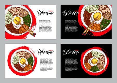 Set of three banners with Bibimbap. Hand drawn illustration.