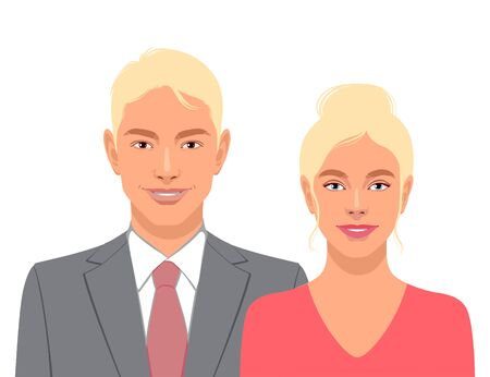 Cute smiling men and woman isolated on white background. Vector illustration
