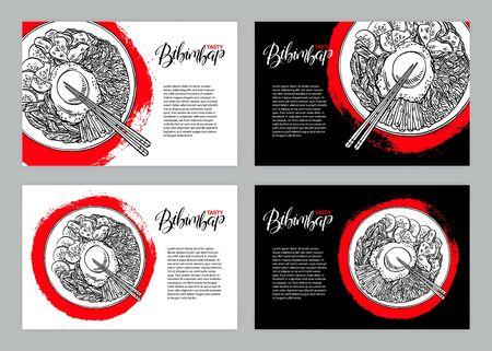 Set of three banners with Bibimbap. Hand drawn illustration. 版權商用圖片 - 149454715