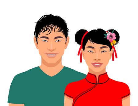 Cute smiling asian men and woman isolated on white background. Vector illustration