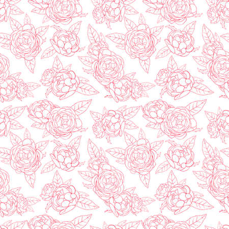 Seamless background of pink roses illustration Vettoriali