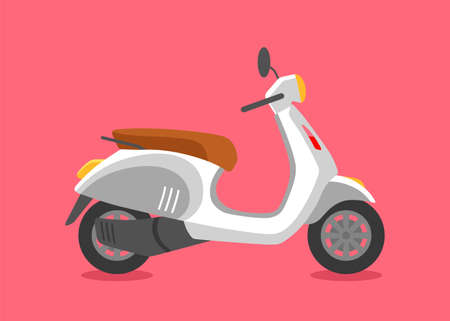 Classic Cute cartoon moped, side view, isolated.