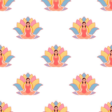 Seamless pattern of Young woman practicing yoga in lotus pose on lotus flower background