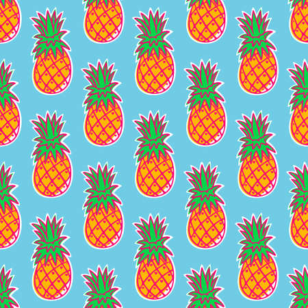 Tropical pineapple fruit seamless pattern on blue background. Vector illustration