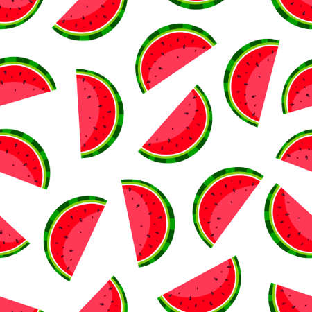 Cute seamless pattern with watermelon slices. Vector illustration