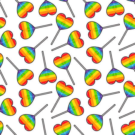 Colorful rainbow Love. Heart Lollipop Candy Seamless Pattern for in rainbow lgbt colors