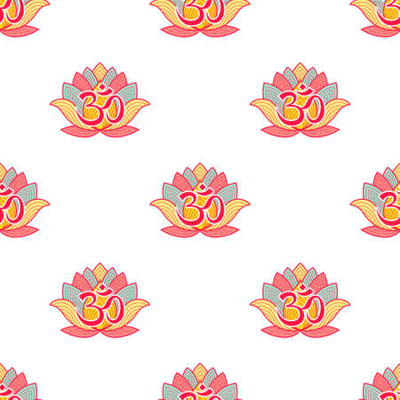 Seamless pattern Om Indian sacred symbol on lotus background. Aum original mantra. Vector background 일러스트