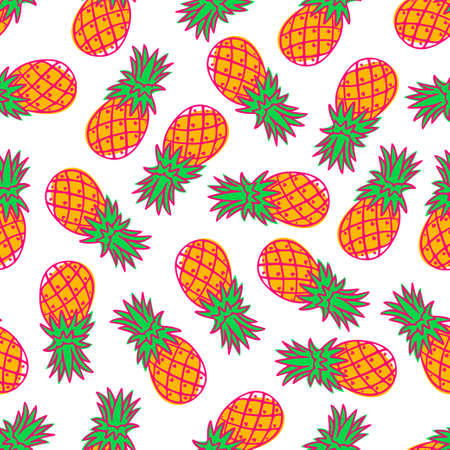 Tropical pineapple fruit seamless pattern. Vector illustration