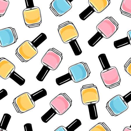 Seamless nail polish pattern. 일러스트