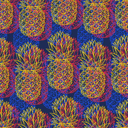 Colorful sketch Pineapples seamless pattern on blue background