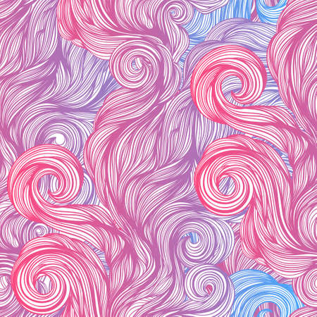 Wave seamless pattern. Blue pink and purple Moving spirals.