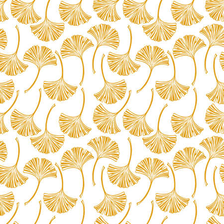 Floral seamless pattern with ginkgo leaves