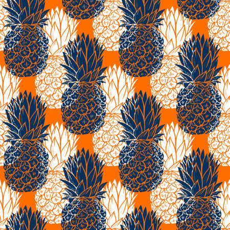 White and blue Pineapples seamless pattern on orange background Illustration
