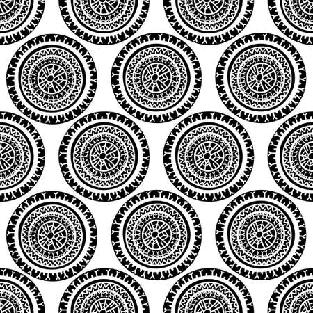 Black and white Seamless pattern. Vintage decorative round elements