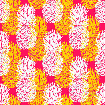 White and yellow Pineapples seamless pattern on pink background