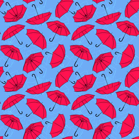 Blue and pink Umbrellas Seamless pattern