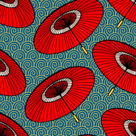 seamless background with red japanese umbrellas