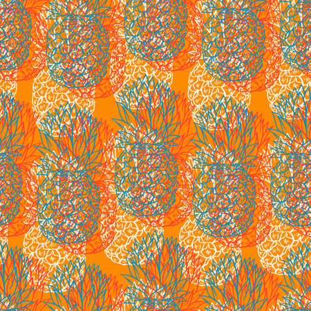 Colorful sketch Pineapples seamless pattern on orange background Illustration