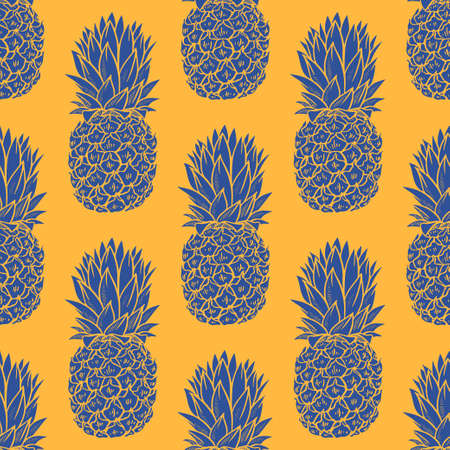 Blue Pineapples seamless pattern on orange background