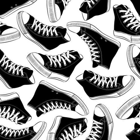seamless pattern with vintage black and white sneakers