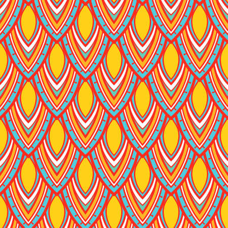 Seamless pattern. Repeating geometric tiles. Stylized abstract striped petals and leaves.