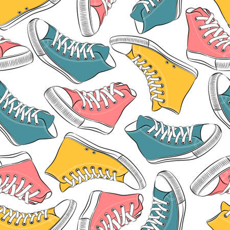 Vector seamless pattern with colorful sneakers