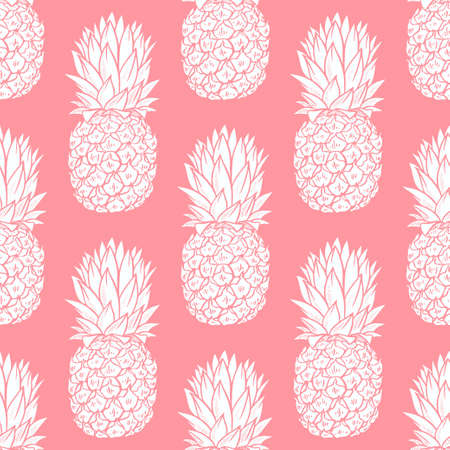White Pineapples seamless pattern on soft pink background Illustration