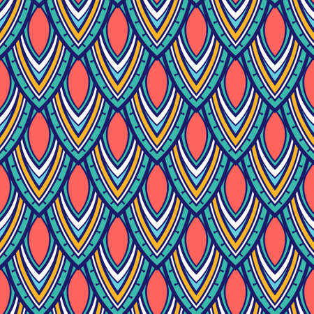 Vector seamless pattern. Repeating geometric tiles. Stylized abstract striped petals and leaves. Bright raphic design.