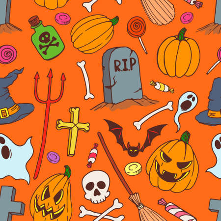 seamless colorful background of holiday halloween symbols. hand-drawn illustration